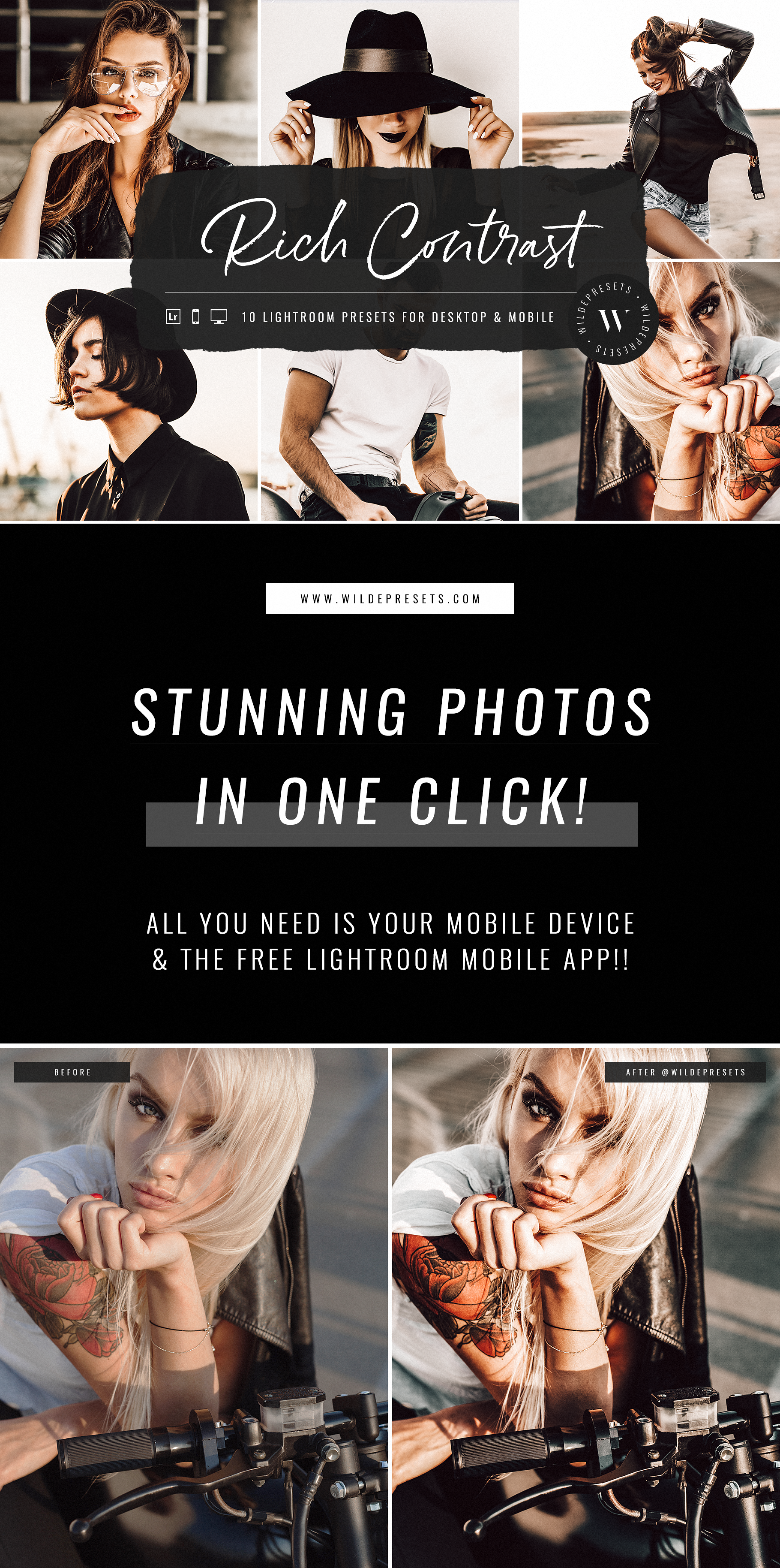 Tap into your inner rebel ⚡Create rich, high contrast photo edits with The Rich Contrast Preset Collection. Inspired by those deep, crisp Instagram feeds! Make your photos POP by enhancing + adding depth to all the tones (without compromising skin tones) with just a click! #rebelchic #rebelstyle #leatherjacket #tattoo #tattoos #presets #lightroompresets #prettypresets #beautifulpresets #darkpresets #moodypresets #mobilepresets #bloggerpresets #bloggerstyle #fashionstyle #styleblogger #lifestyle
