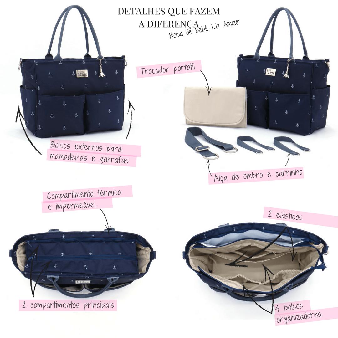 250e1b4a1 Bolsa de bebê Liz Amour - Liz Paris - Azul Marinho Diferenciais que tornam  essa bolsa