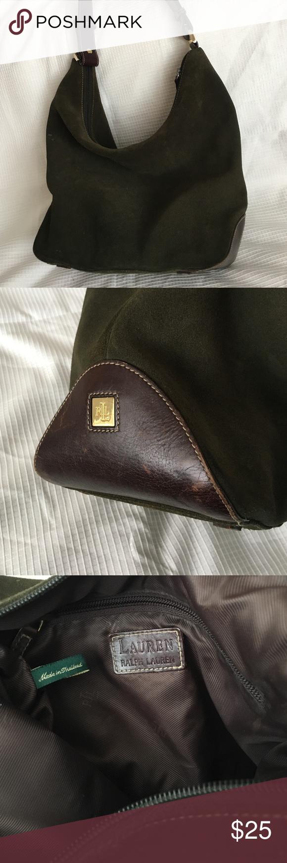 Ralph Laurent vintage  army green suede bag BAG Ralph Lauren Bags Hobos