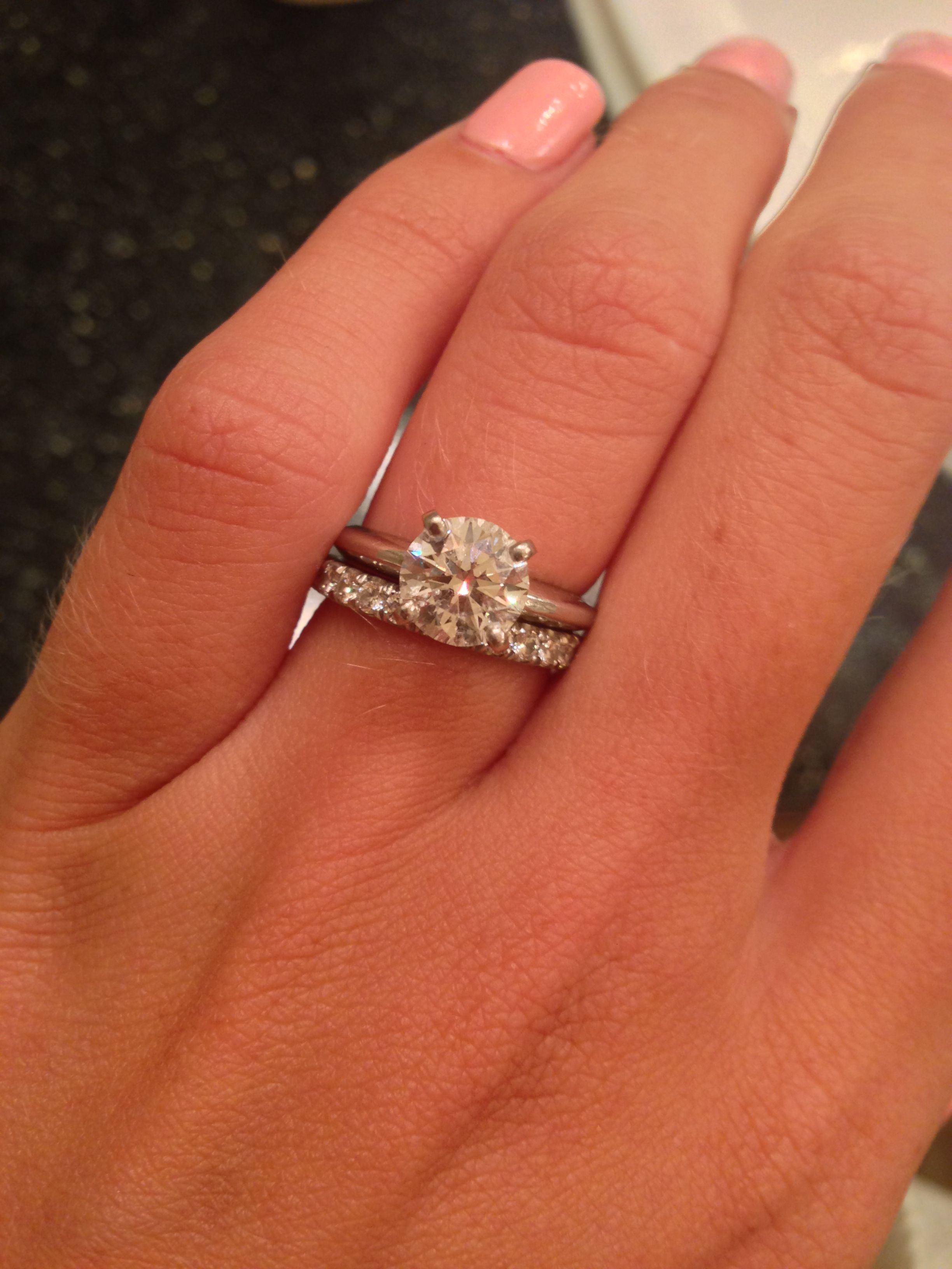 Show me your diamond wedding band with your solitaire e ring
