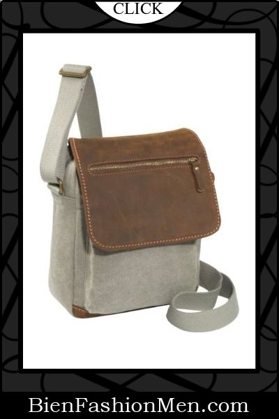 793a698aea6778 Mens Messenger Bags ♢ Earth Axxessories Khaki Canvas with Leather Flap Over  Messenger Bag  70.29