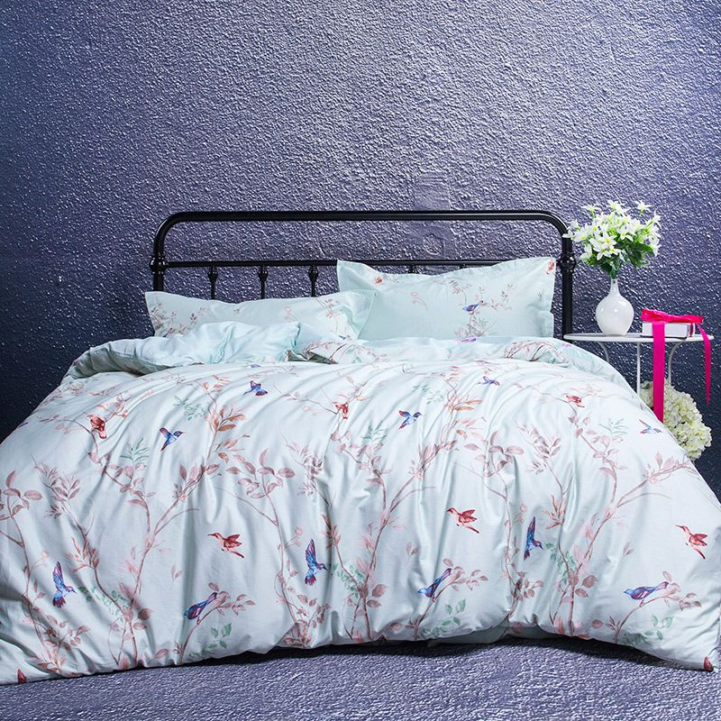 Cotton Home Textile Forest Bird 4pcs Bedding Set Size For Twin Full Queen  King Home Hotel