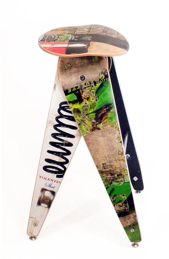 """Recycled Skateboard Barstool - 29"""" Bar Height Stool - Made by Deckstool. Cool, skateboarder kitchen home decor."""