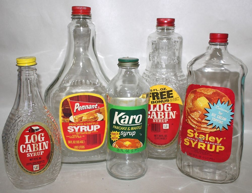 Charmant Log Cabin Staley Pennant Karo Waffle Pancake Syrup Empty Glass Bottles Lot  Of 5 #LogCabin