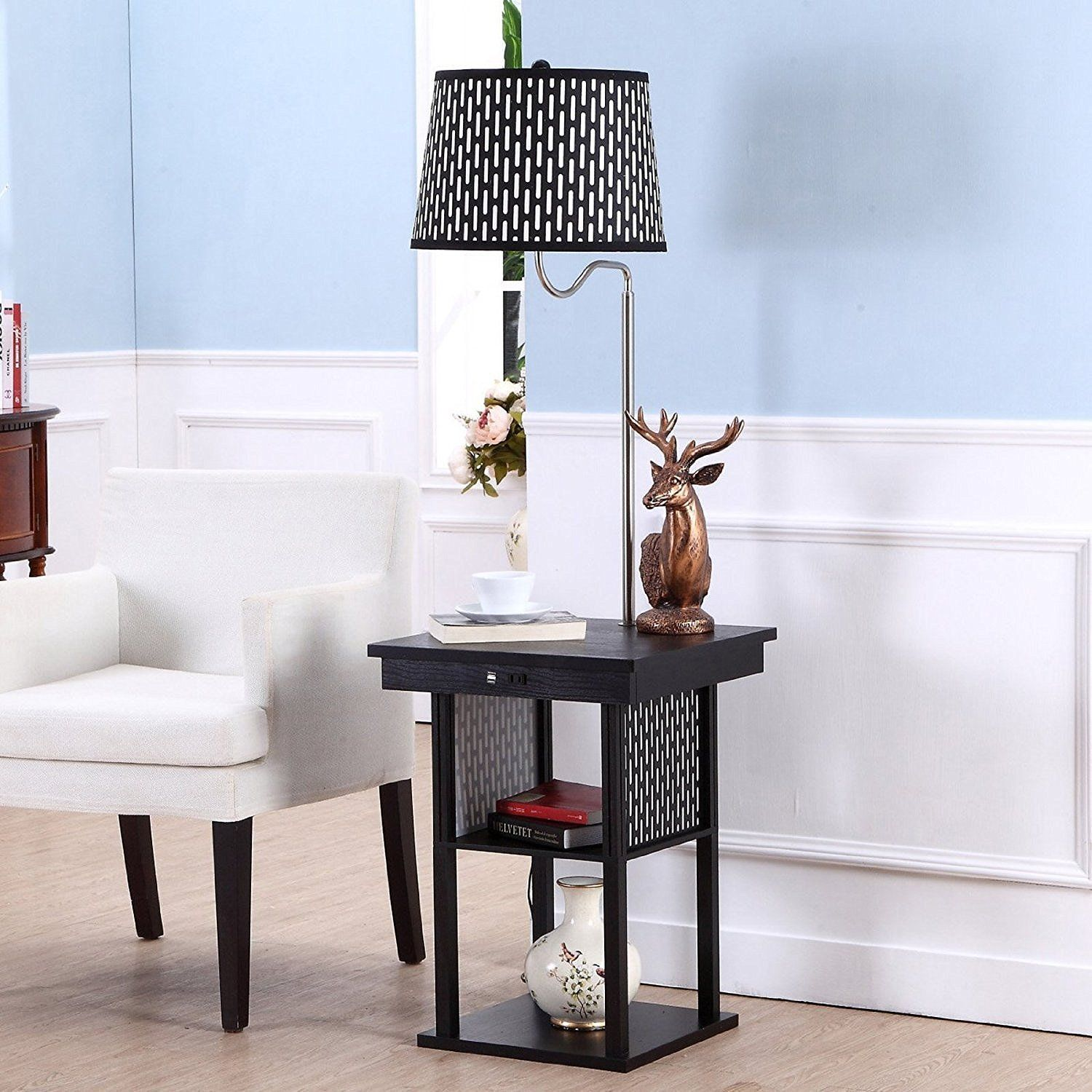 End Tables with Built In Lamps Led floor lamp, Modern