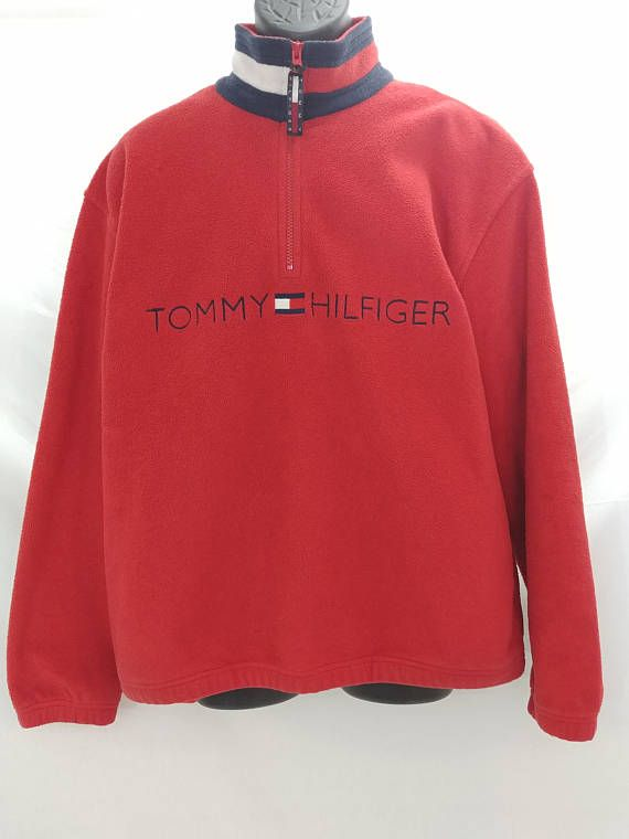 d51ac0821b8b Vintage Tommy Hilfiger 90 s Red Fleece Spell Out