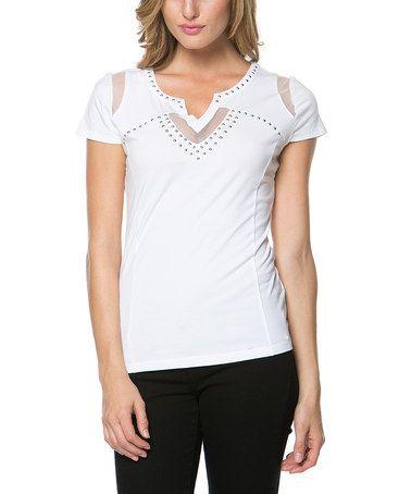 This White Modal-Blend Notch Neck Top - Women by High Secret is perfect! #zulilyfinds