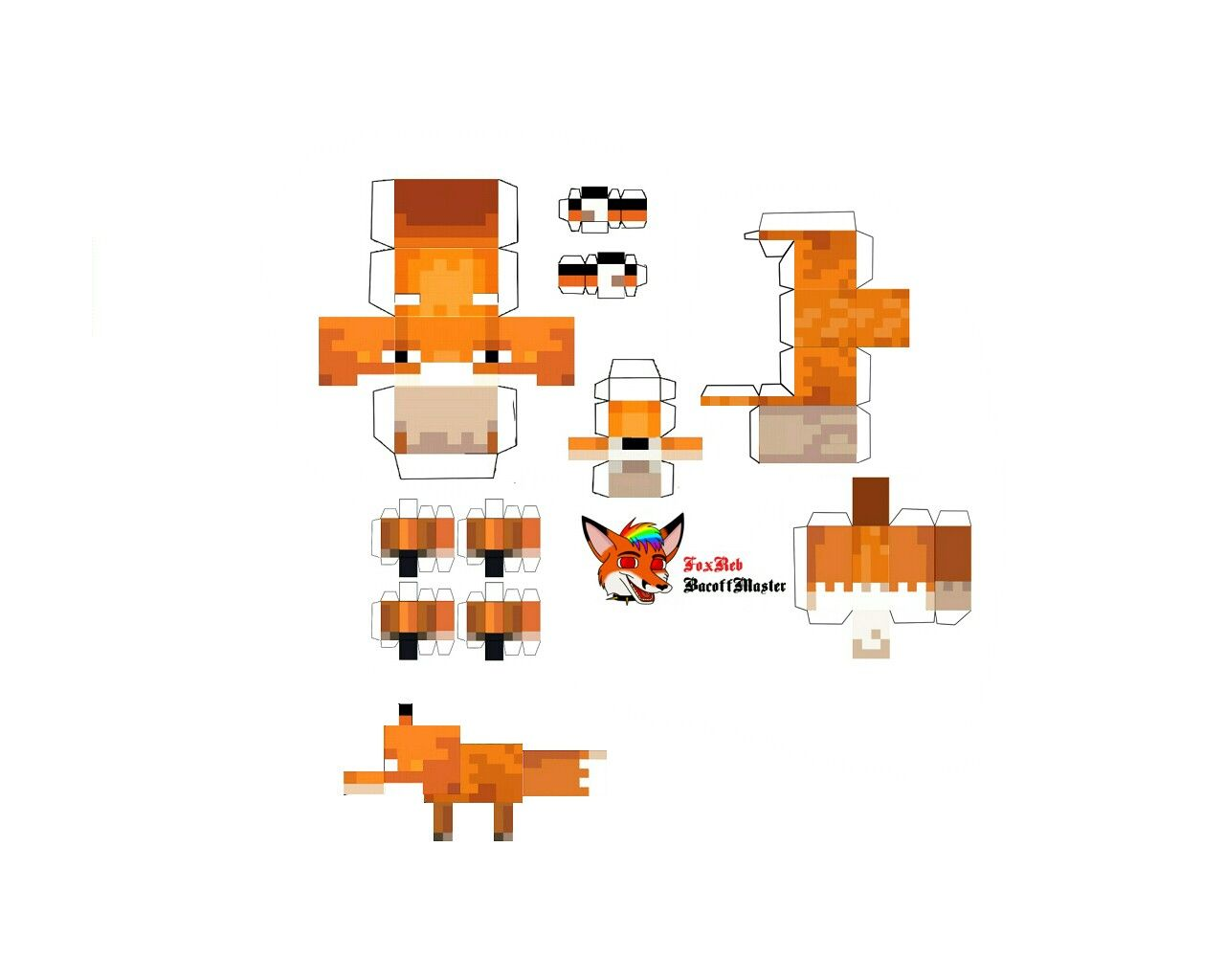 Baby fox in 11  Minecraft printables, Minecraft crafts