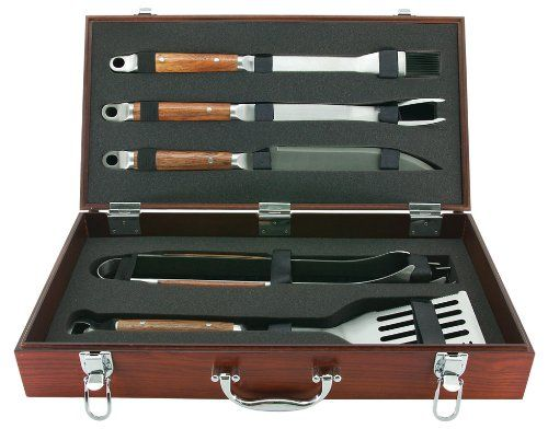 Mr Bar B Q 02136X PD Forged 5-Piece Set in Wood Carrying Case $67.19
