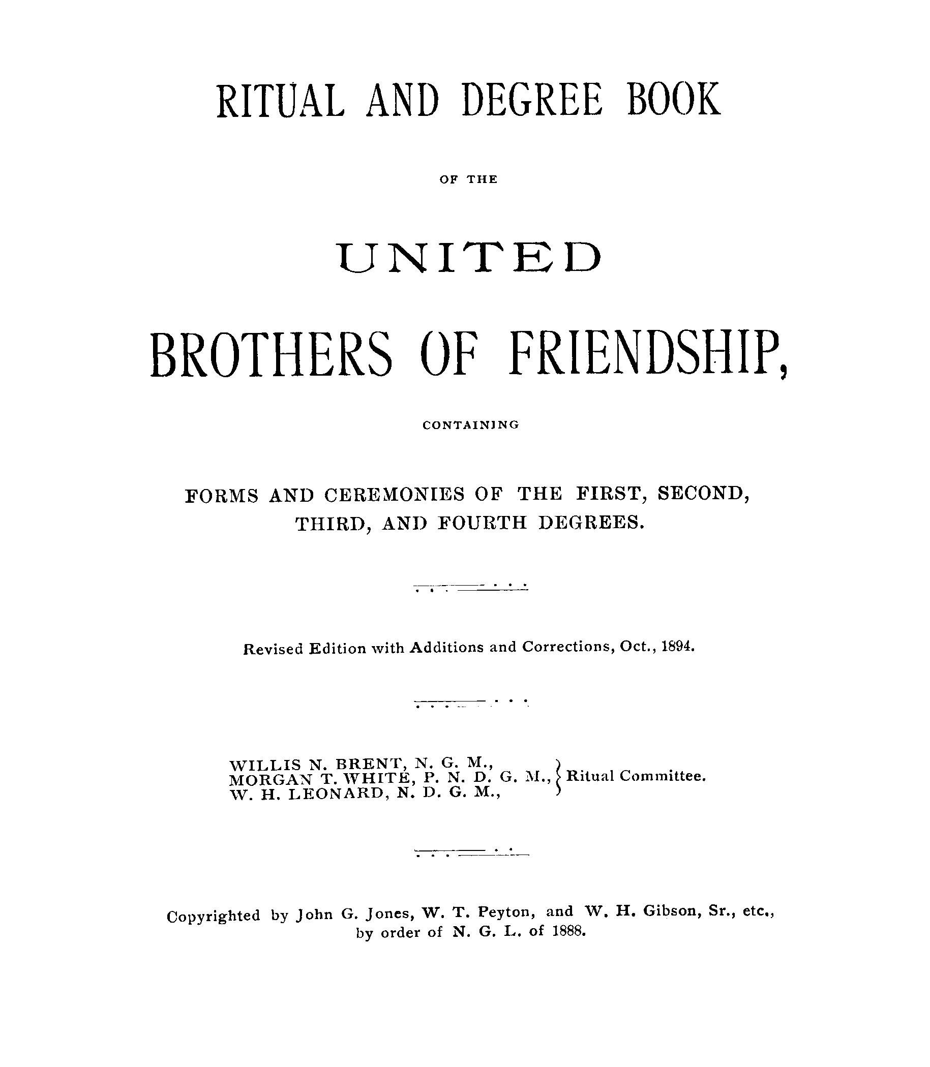 ritual and degree book of the united brothers of friendship ritual and degree book of the united brothers of friendship containing forms and ceremonies of