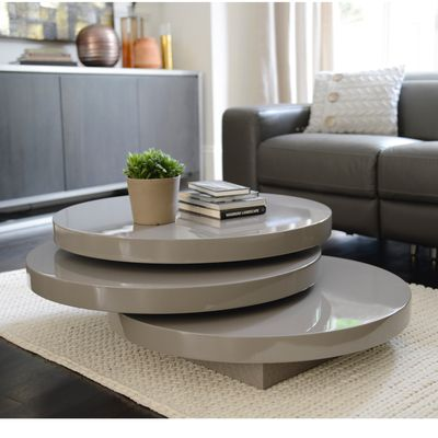 click to zoom - triplo round gloss swivel coffee table stone