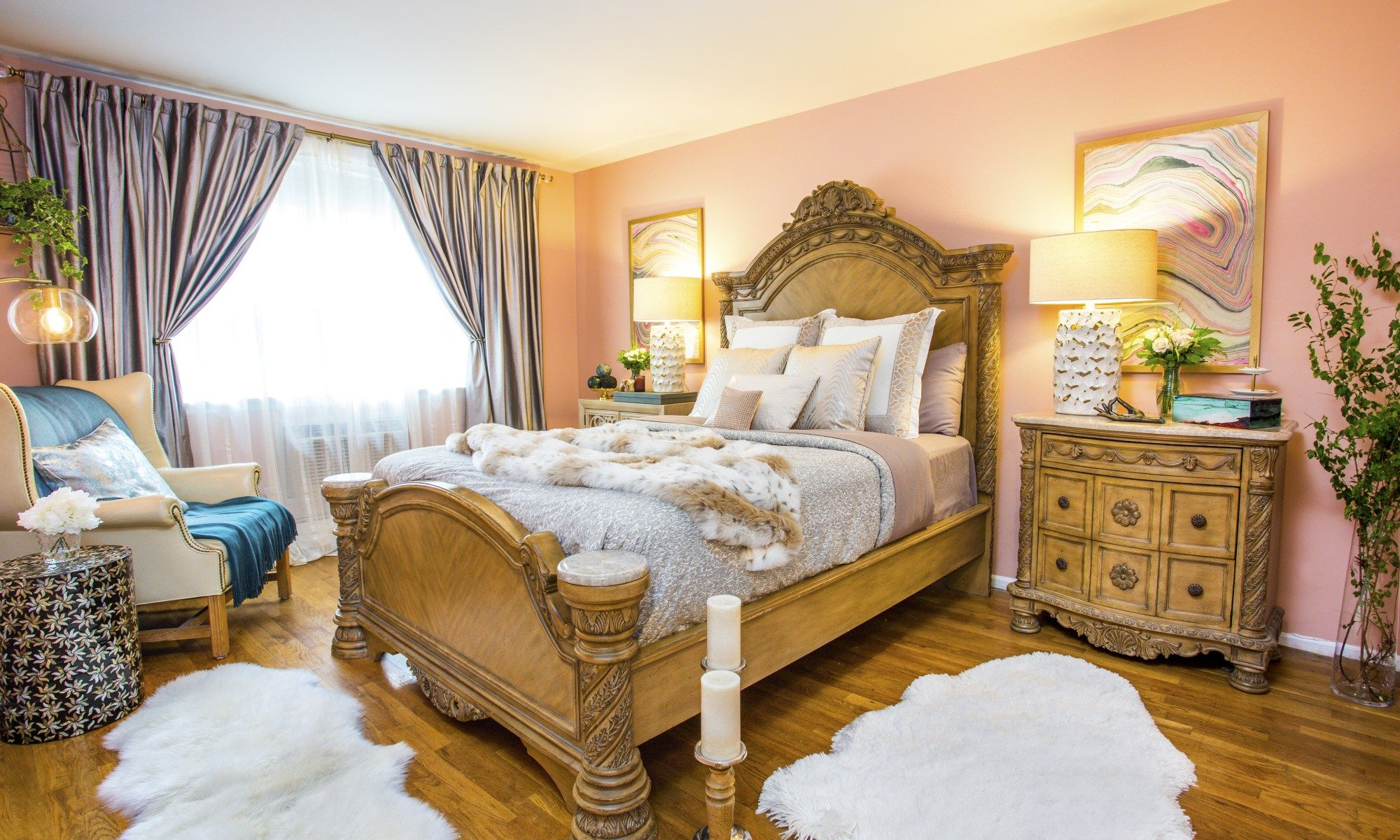 Traditional romantic master bedroom decor  Blog  Style by Mimi G Interior Decorator Airmont NY Blush walls