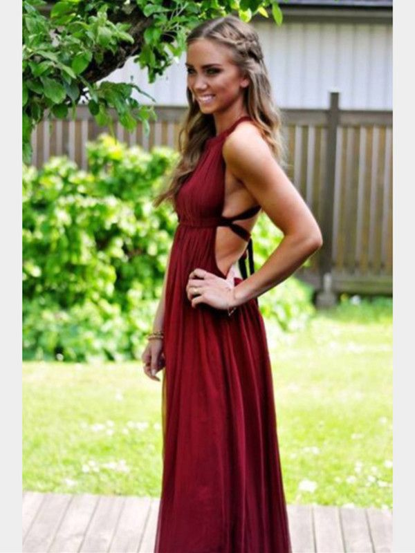 A Line Sleeveless Backless Maroon Prom Dress, Maroon Formal Dress ...