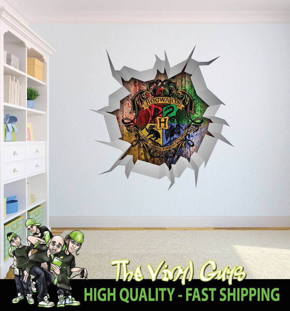 Harry potter hogwarts logo wall crack wall art decor 001 printed harry potter hogwarts logo wall crack wall art decor 001 printed decal sticker amipublicfo Image collections
