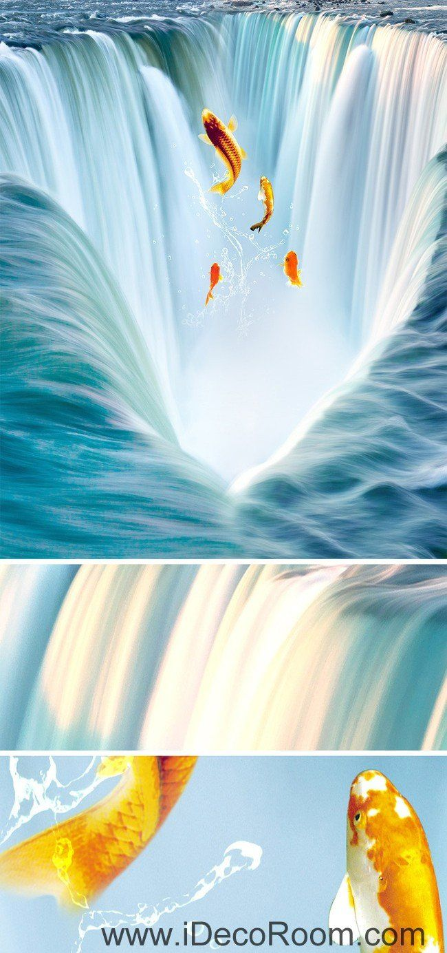 Waterfall Fish Jumping 00034 Floor Decals 3d Wallpaper Wall Mural  # Muebles Pose Mato