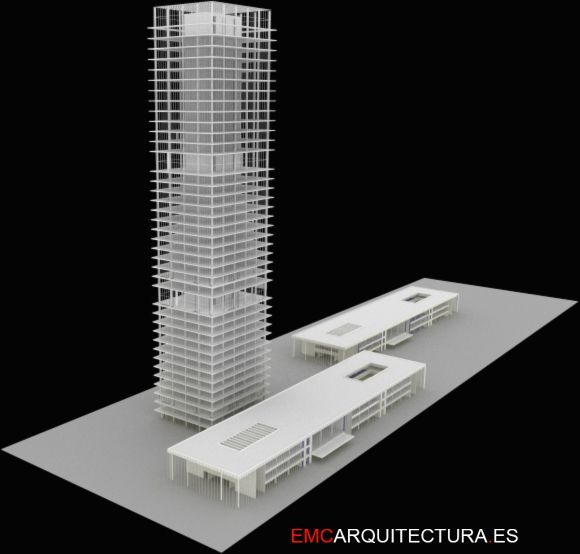 Torre Híbrida Con Viviendas, Oficinas, Hotel Y Centro Comercial. Desarrollado Como PFC - EMCARQUITECTURA