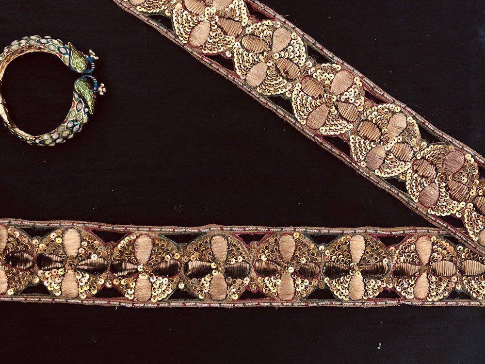 Antique Gold Embroidered Indian Trim,Vintage Handmade Old Gold Cutwork Lace,Copper Gold Beaten Metal Trim,Pitta Work Saree Border,Price/mtr #indianbeddoll