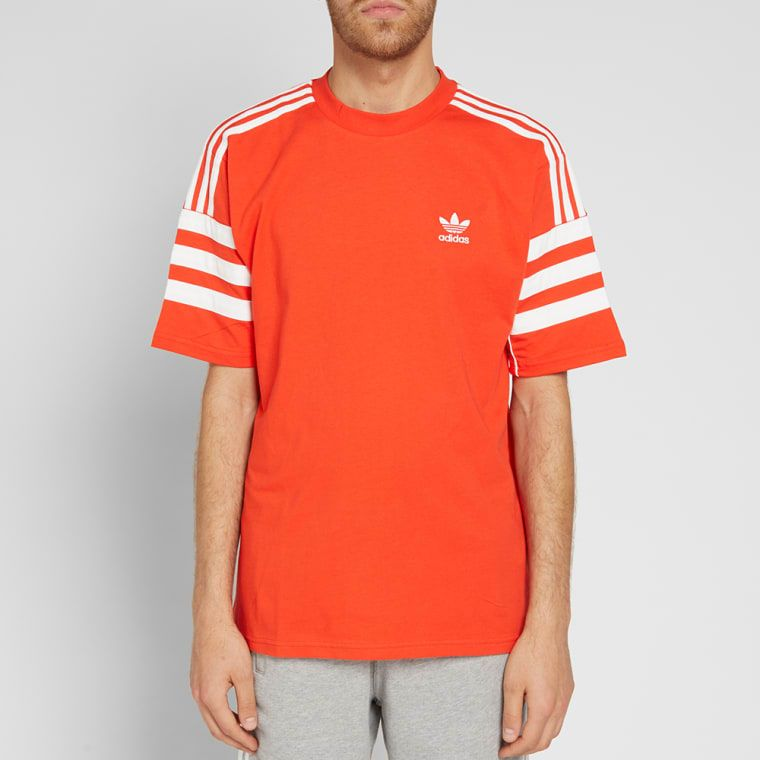 free shipping 6fb6c ff318 Adidas Authentic Tee Hi-Res Red   White 5