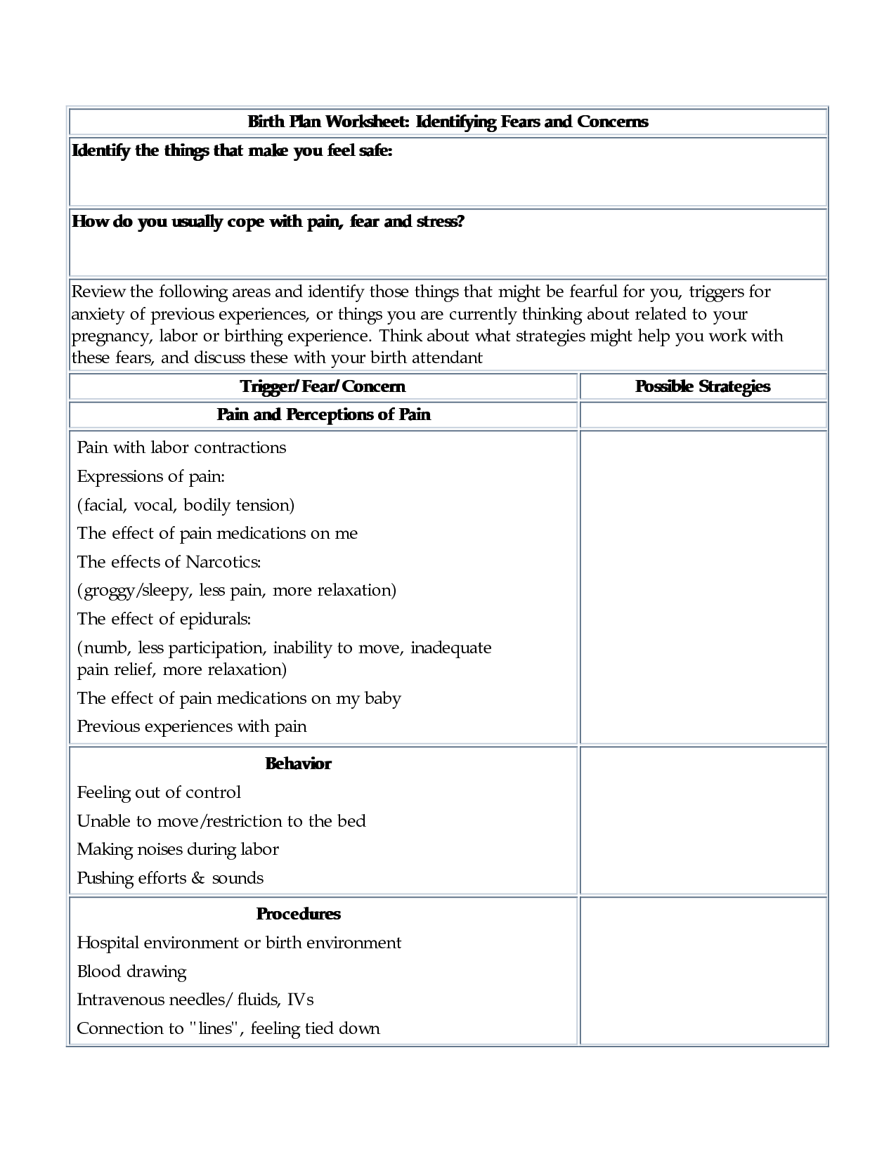 doula birth plan worksheet