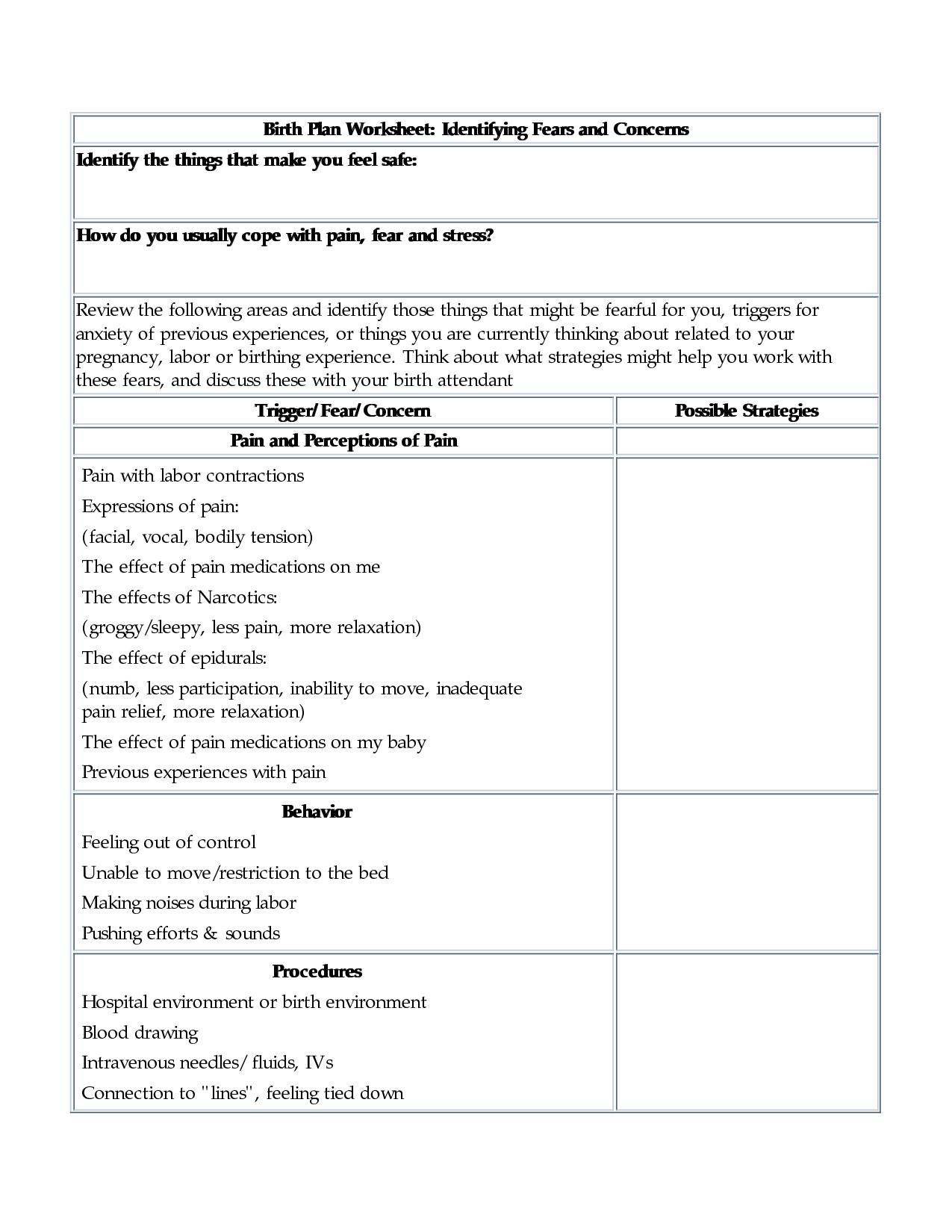 Printable Pregnancy Worksheet