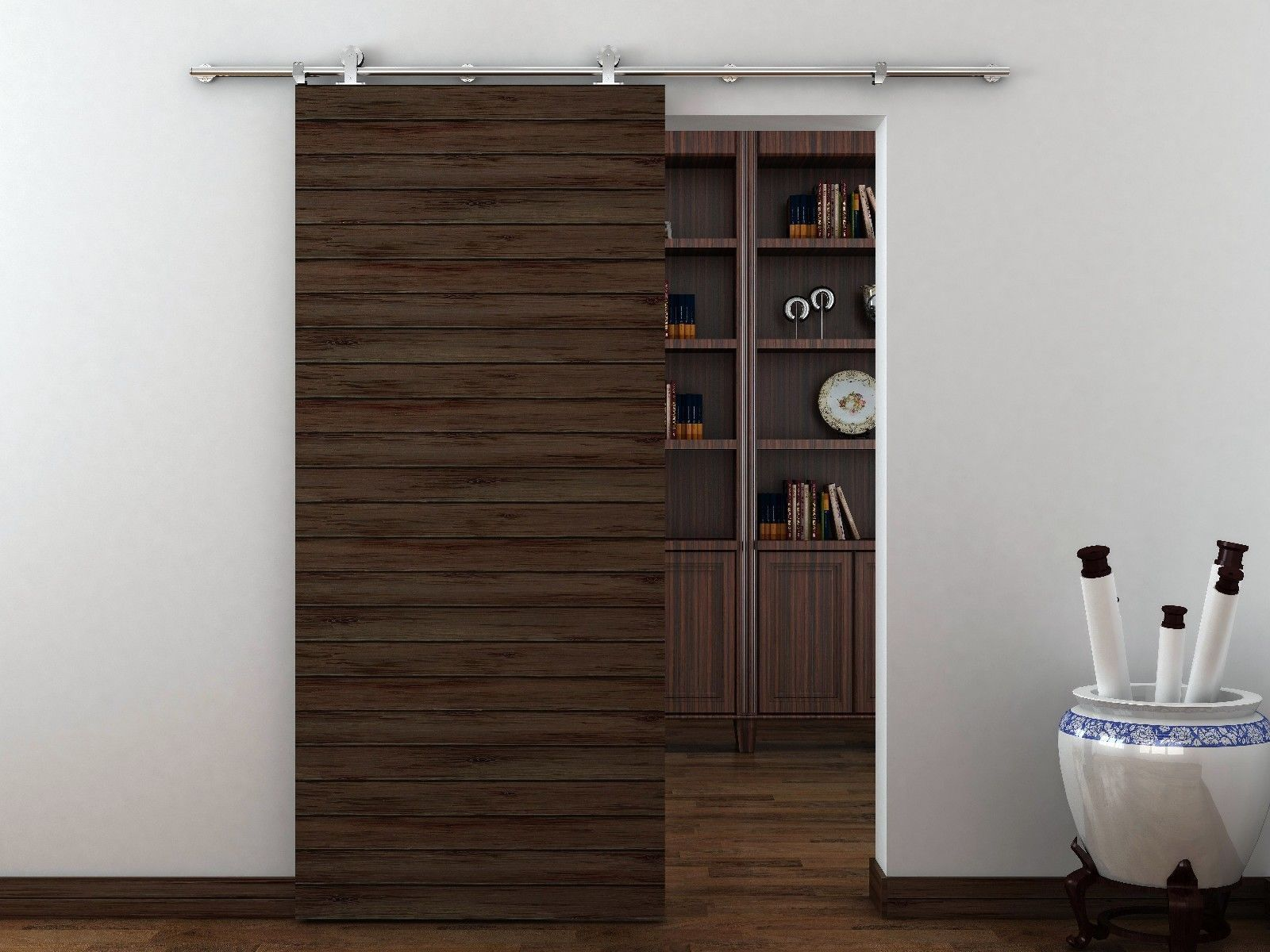 Basora European Modern Stainless Steel Wood Sliding Barn Door