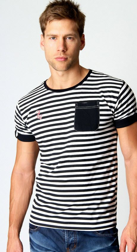 Striped Pocket Detail Tee $24 www.boohoo.com