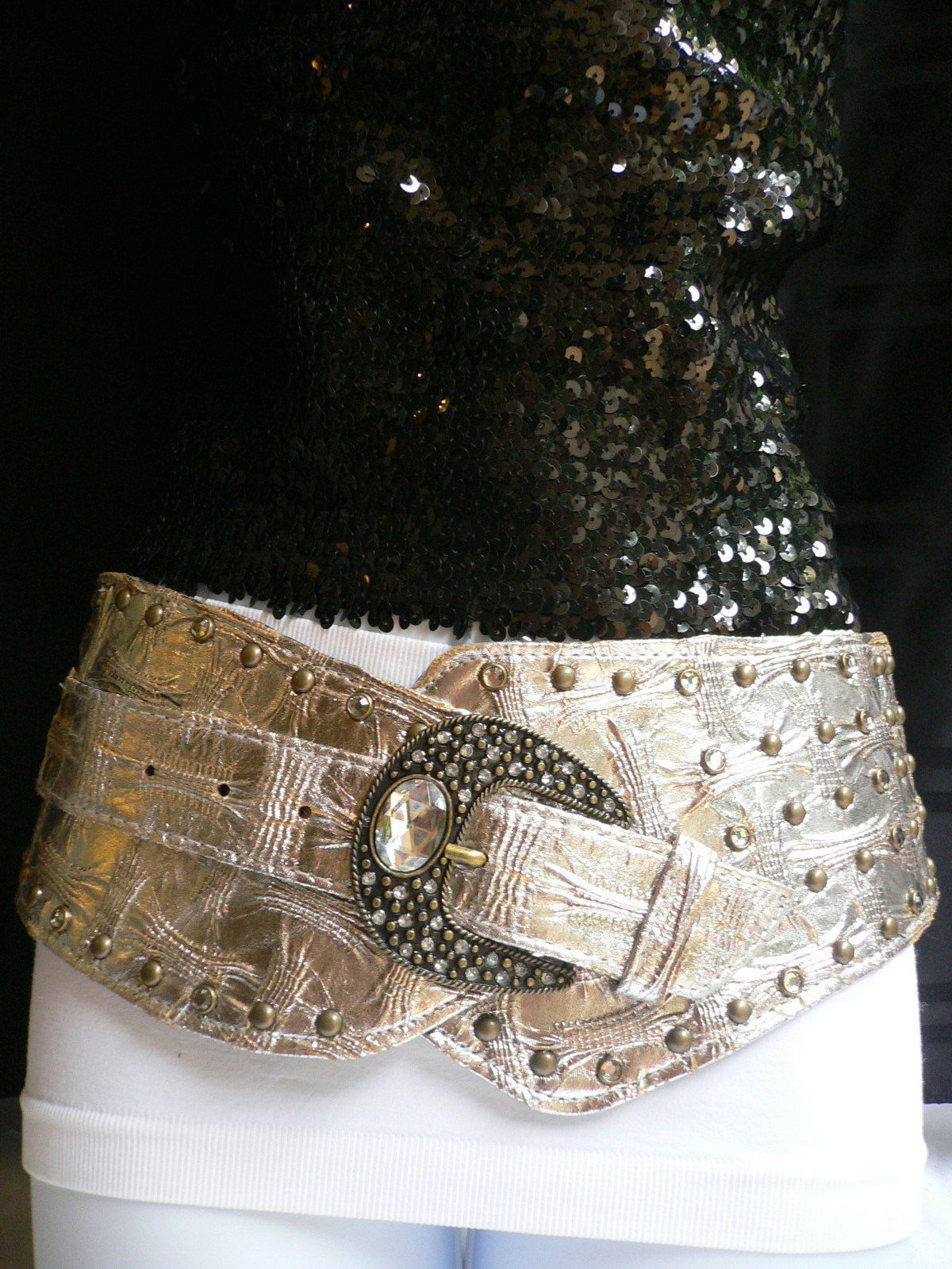 Women Hip Metallic Bronze Brown Wide Silver Metal Bling Studs Buckle Belt M L