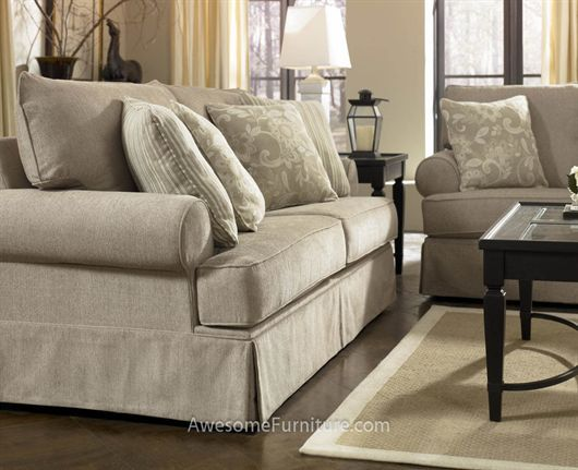 Delightful Signature Design By Ashley Candlewick   Linen Sofa With Rolled Arms And  Skirt Base   Herringbone Pattern! Value City Furniture
