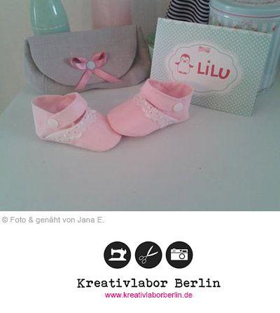 Babyschuhe mit Riemchen Schnittmuster & Nähanleitung: http://www ...