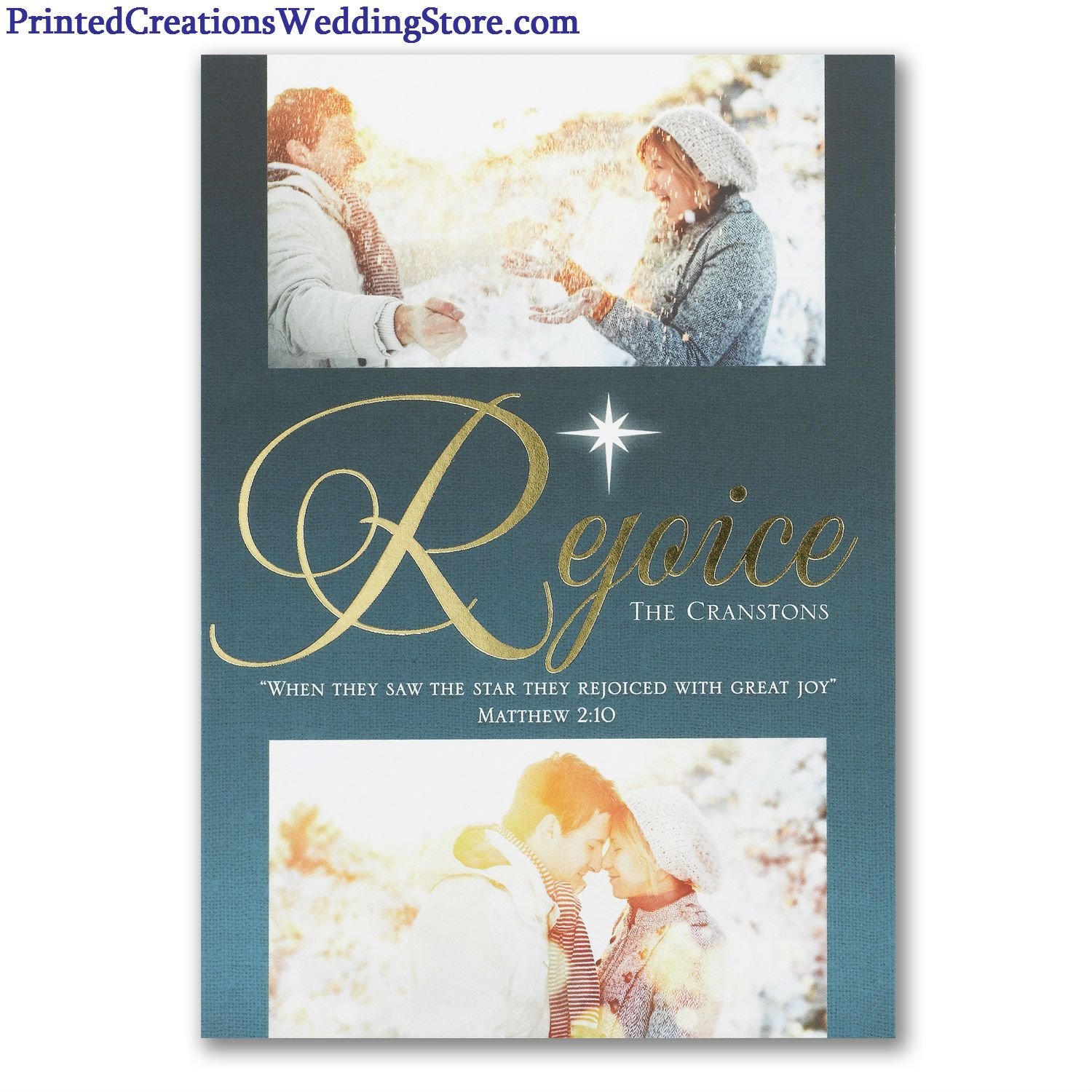 Elegant Is This Rejoice Star Photo Christmas Card With Accents Of