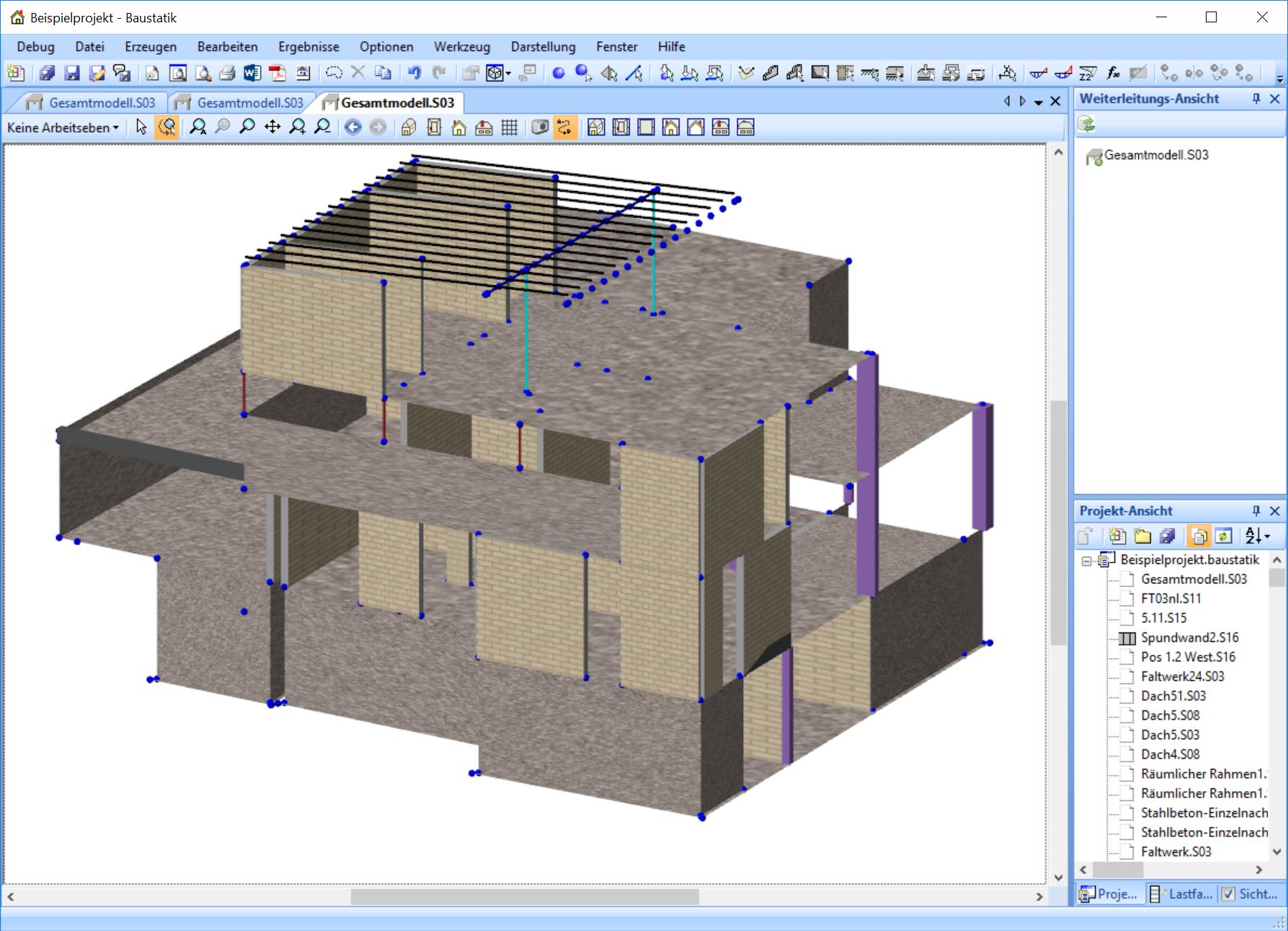 Am Beispiel Dieses Komplexen Gebaudes Konstruiert Und Berechnet Mit Der Baustatik Von Gerd Paul Koch Bauingenieure Zeig Baustatik Visualisierung Bauingenieur