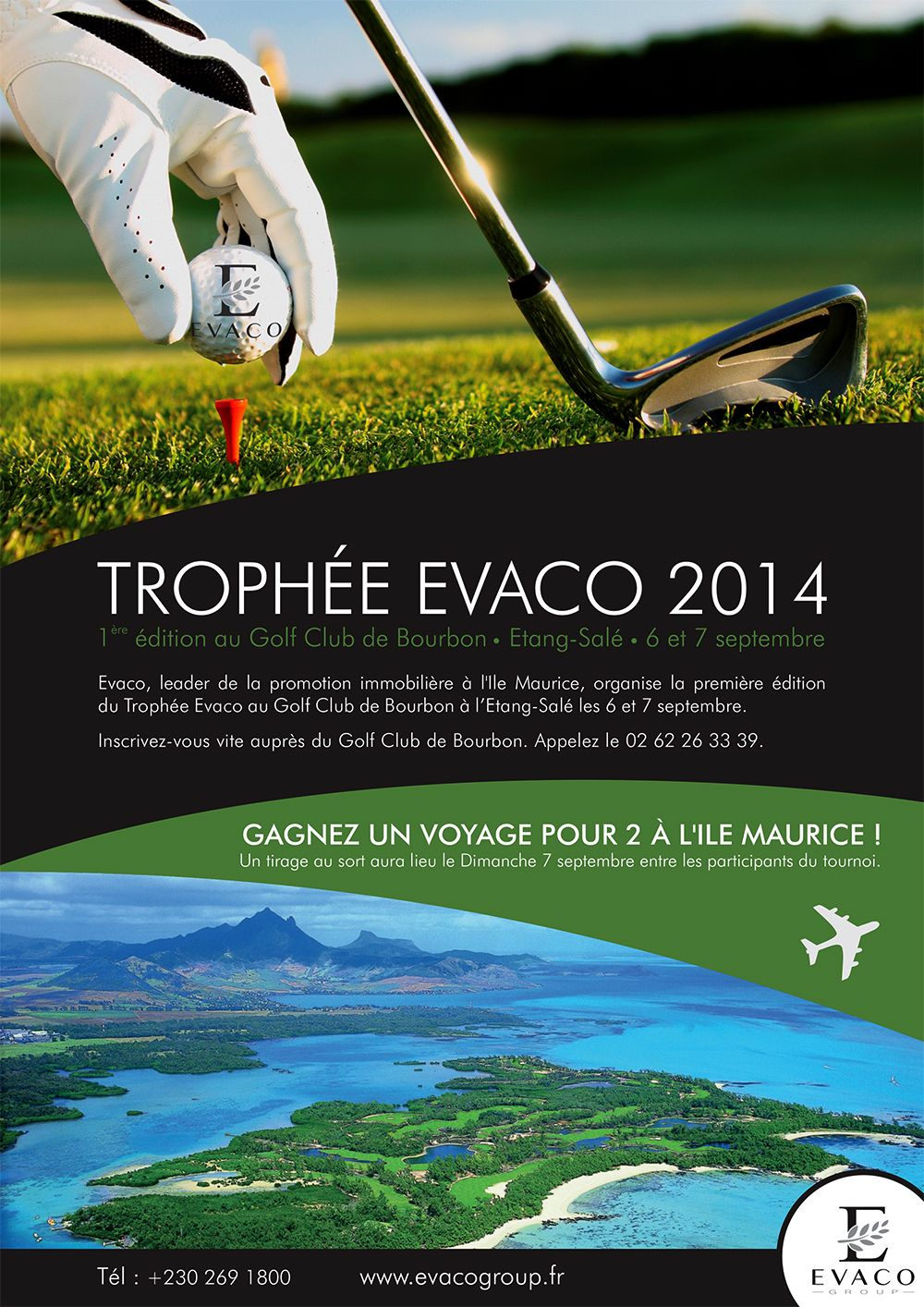 poster evaco golf tournament 2014 reunion island graphic design