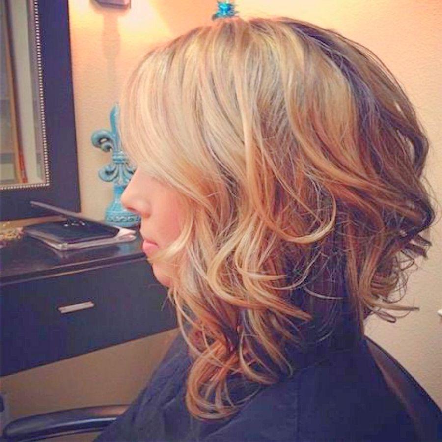 Long wavy asymetrical bob … | Hair ideas | Curly…