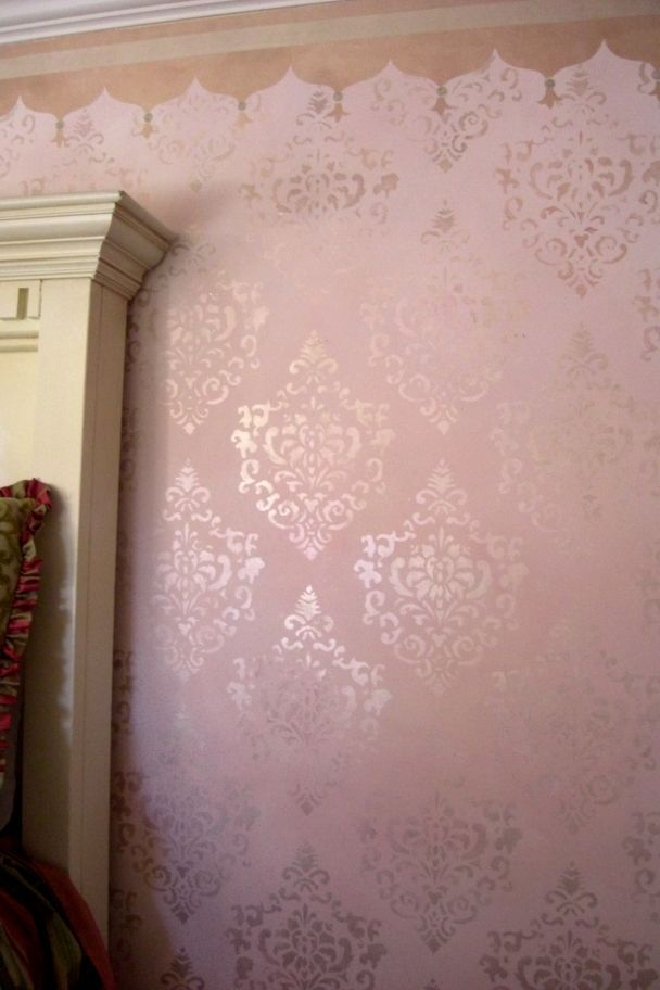 Faux Painting Techniques For Walls Pink And Ivory Brocade Technique By Luna Murals Age S Room