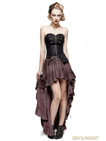 6c065e283cc Coffee Steampunk High-Low Corset Dress
