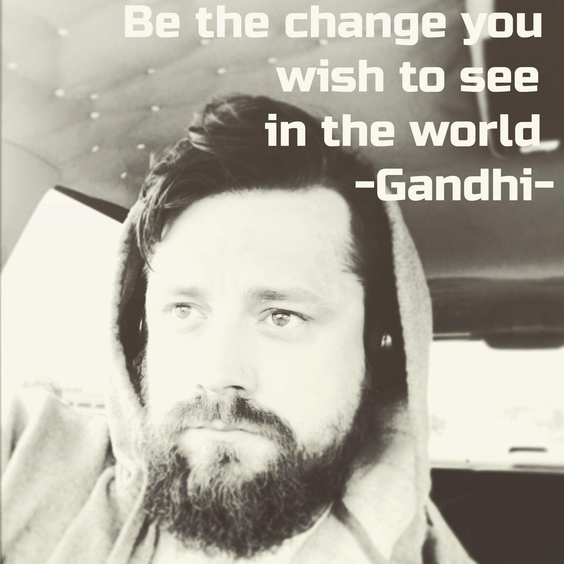 "After experiencing all the hate that followed the 2016 election; I made a vow to lead by example and only post positive words to the internet.  I pledged ""to be the chance I wish to see in the world.""  #gandhi #change #positiveenergy #onelove #onenation #manwithablog"