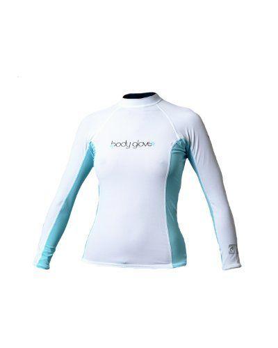 Body Glove Deluxe Womens Long Arm Lycra Rash Guard Shirt (White White Blue 9c27712ca