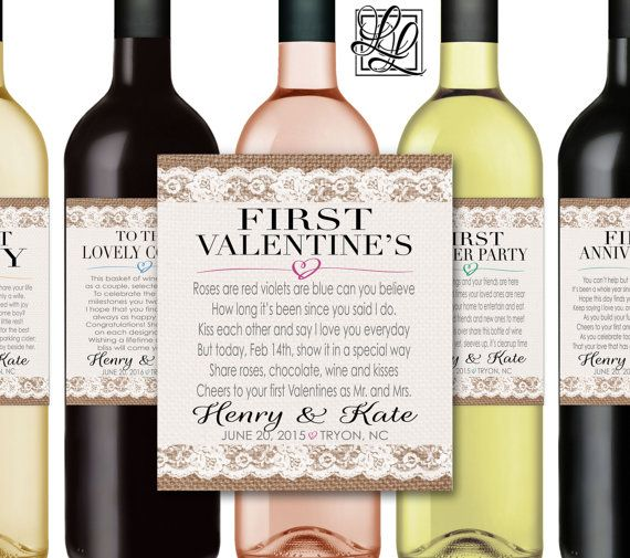 Marriage Firsts Milestones Poems Wedding Gift Wine Champagne Bottle Labels First Anniversary Honeymoon Fight Valentine Item Mmburlap
