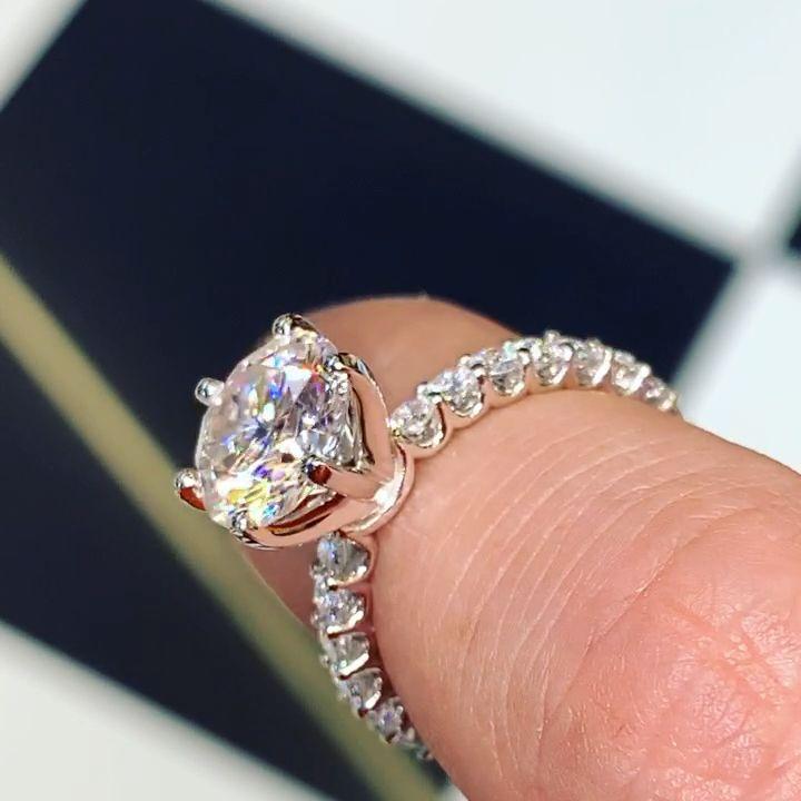 3.00ct Round Moissanite Engagement Ring with Diamond U Prong Eternity Band on 14K White Gold