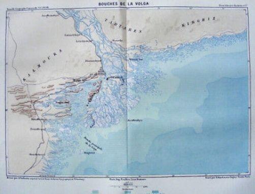 RUSSIA ASTRAKHAN VOLGA 1880 original antique map French edition
