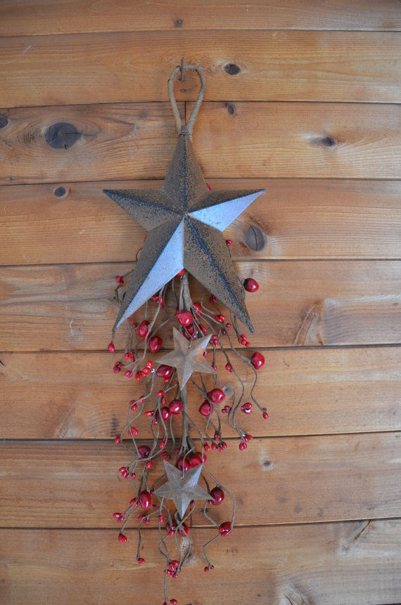 Rustic Brown Metal Star Wall Hanging With Red By
