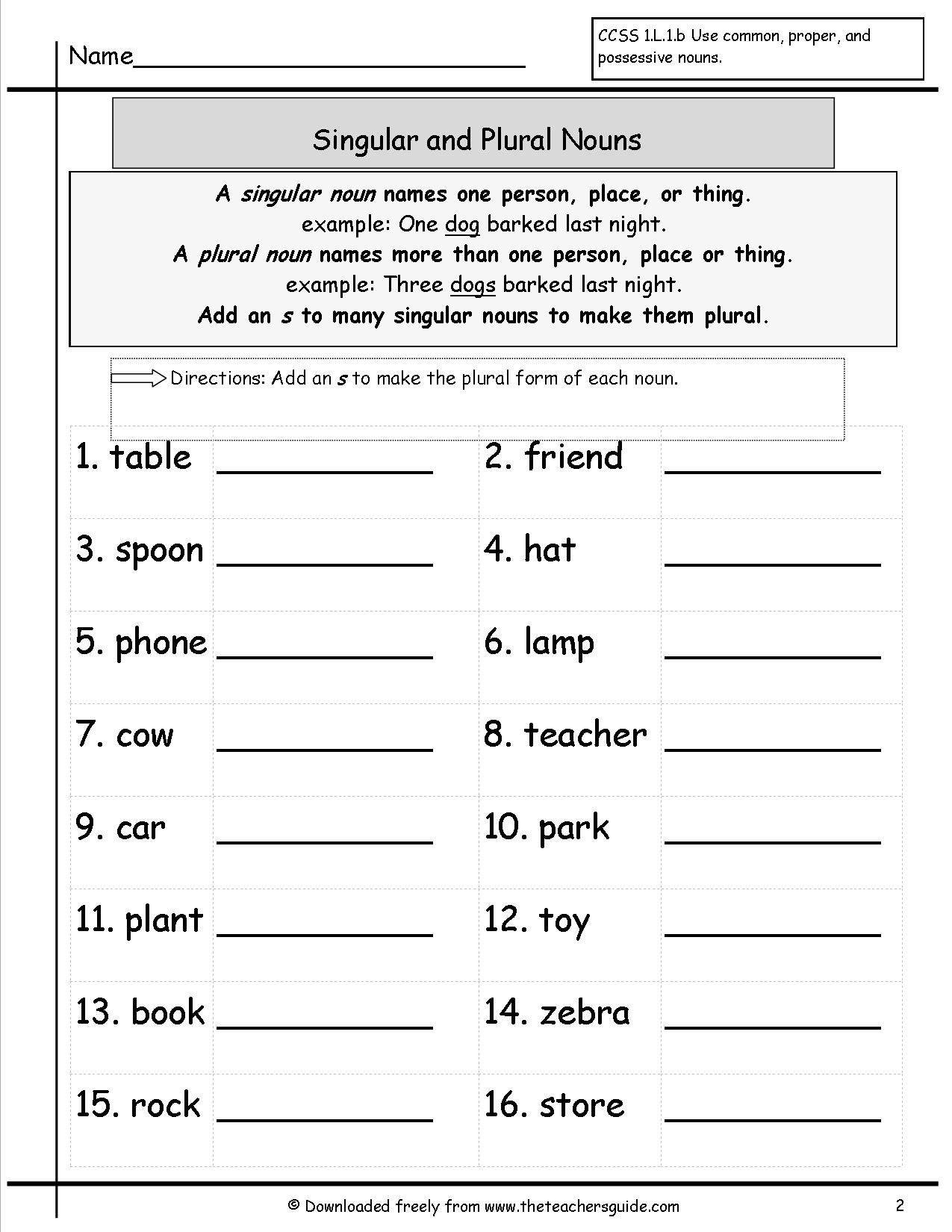 Singular and Plural Nouns Worksheets from The Teacher's Guide   Nouns  worksheet [ 1650 x 1275 Pixel ]