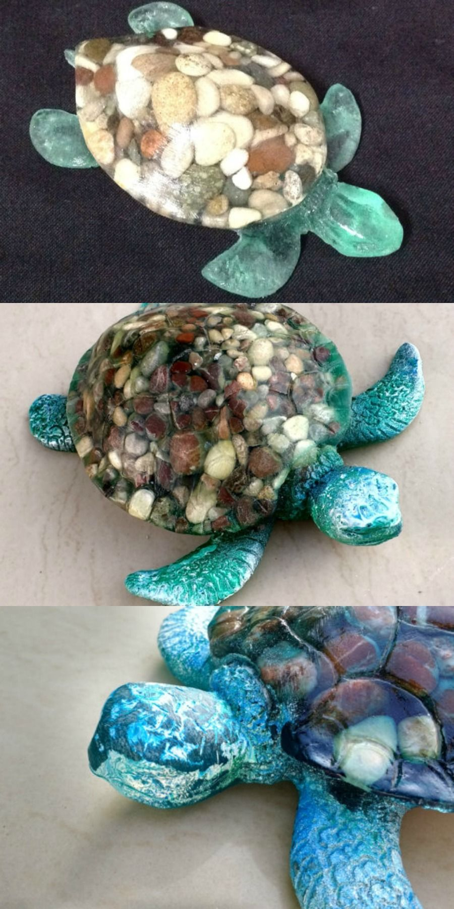 Love this, so unusual! Found on Etsy. Turtle pebble and resin ...