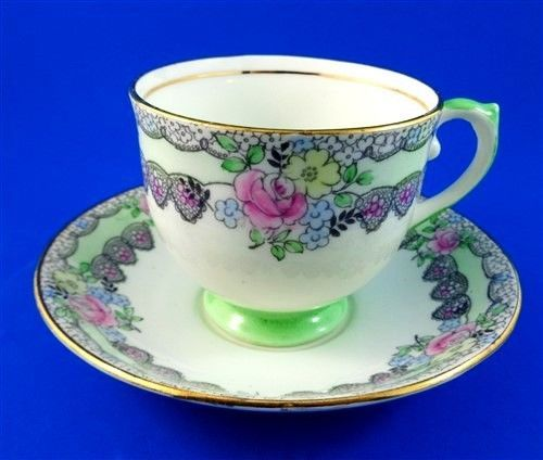 Handpainted Floral with Green Pedestal Salisbury Tea Cup and Saucer Set