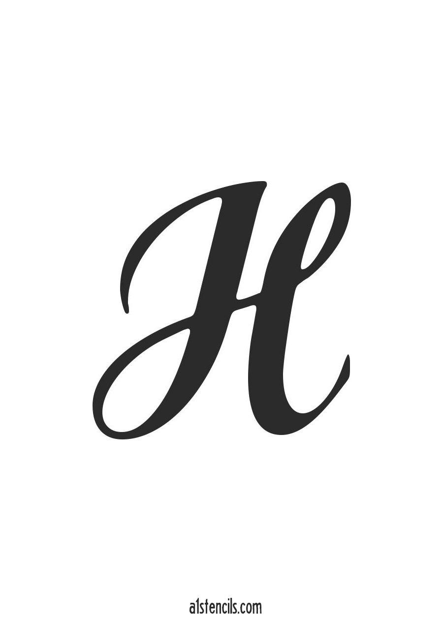 PDF Stencil Letter Handwritten Cursive H