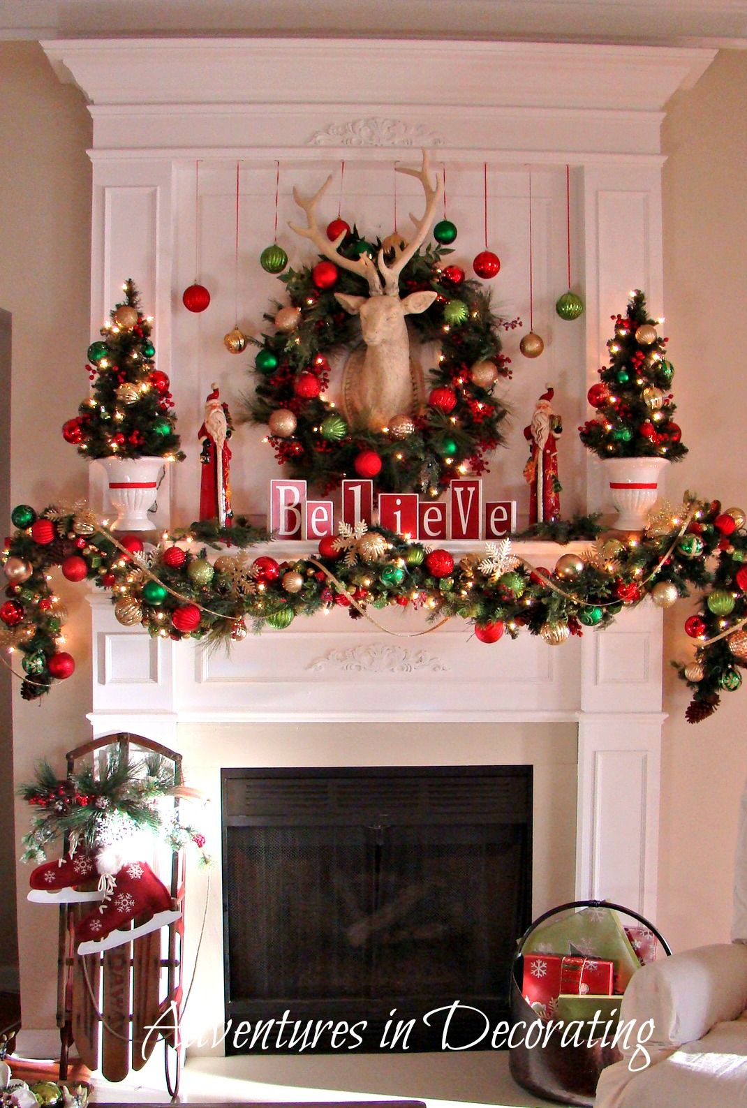 So pretty for the fireplace minus the deer head because we have
