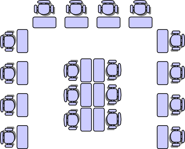 Horseshoe with group area in the middle – Classroom Seating Arrangement Templates