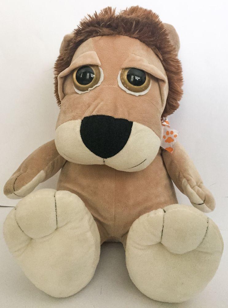 Big Walmart Lion Plush Stuffed Animal Toy Huge Eyes Paw Print Bow