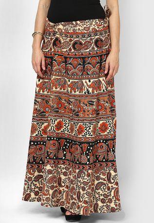 79f956a4296 Beige jaipuri printed cotton wrap skirt