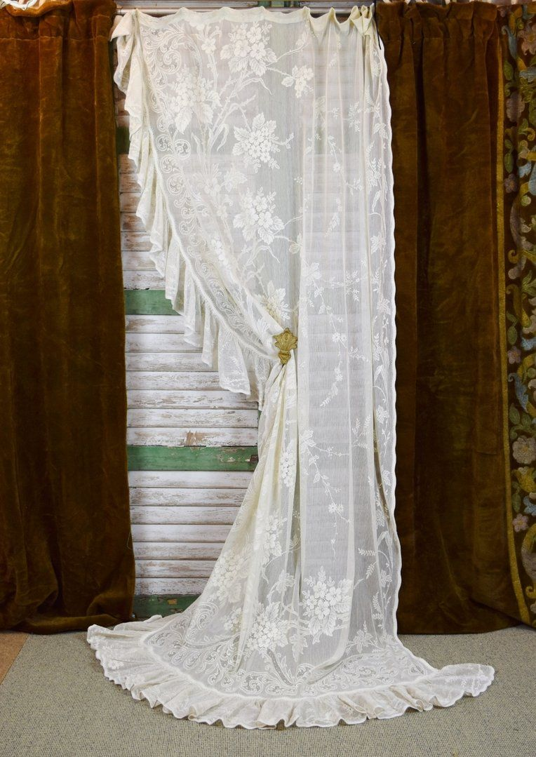 French Lace Curtains B505 Sublime Antique French Lace Curtain Portiere With Frill